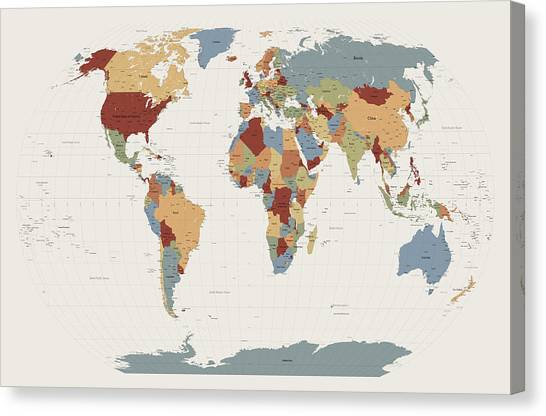 World Map Canvas Print - World Map Muted Colors by Michael Tompsett