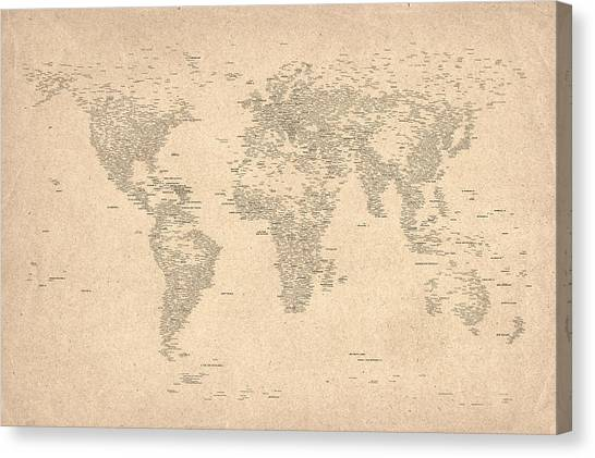 World Map Canvas Print - World Map Of Cities by Michael Tompsett