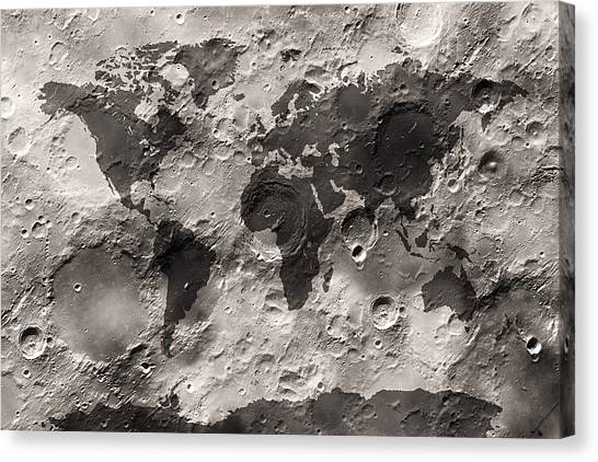 Map Canvas Print - World Map On The Moon's Surface by Michael Tompsett