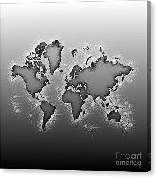 World Map Opala In Black And White Canvas Print