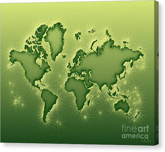 World Map Opala In Green And Yellow Canvas Print