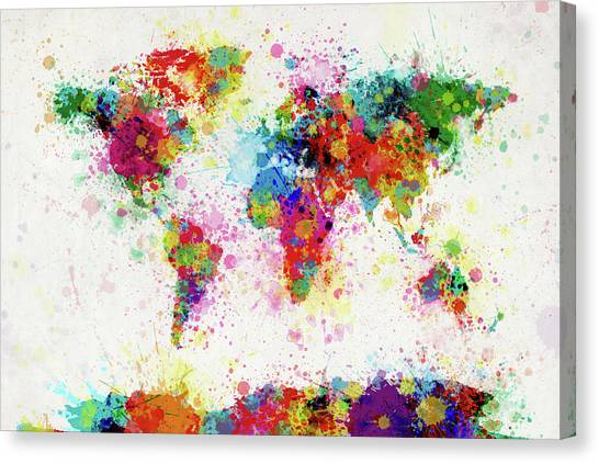 Map Canvas Print - World Map Paint Drop by Michael Tompsett