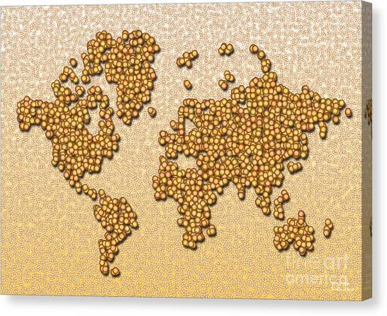 World Map Rolamento In Yellow And Brown Canvas Print