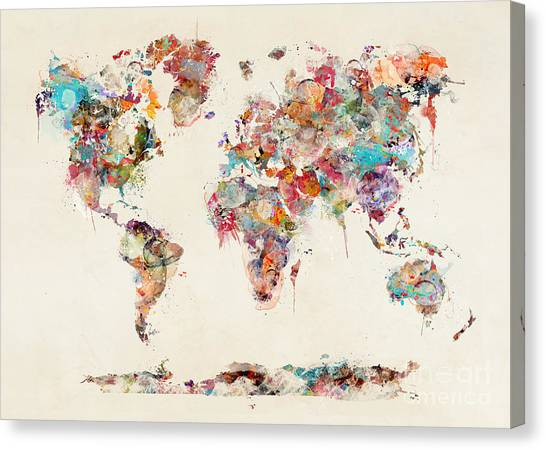 World map watercolor painting by bleu bri world map watercolor canvas print by bleu bri gumiabroncs Gallery