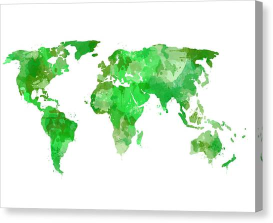 Green Camo Canvas Print - World Map Watercolor Green by Michelle Eshleman