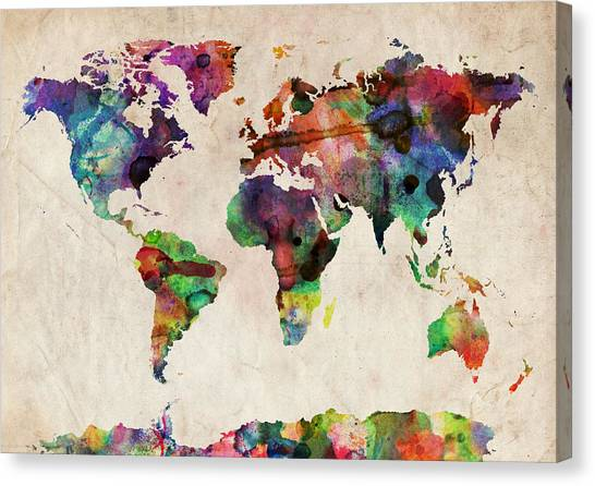 Map Canvas Print - World Map Watercolor by Michael Tompsett