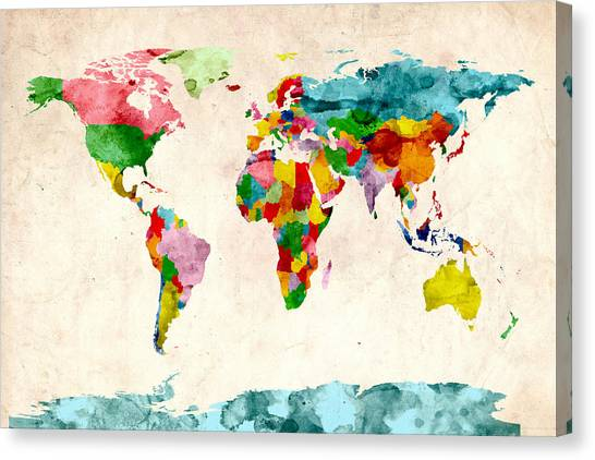 World Map Canvas Print - World Map Watercolors by Michael Tompsett