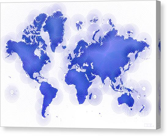 World Map Zona In Blue And White Canvas Print