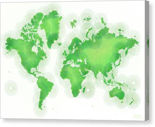 World Map Zona In Green And White Canvas Print
