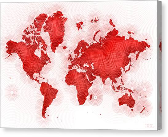 World Map Zona In Red And White Canvas Print