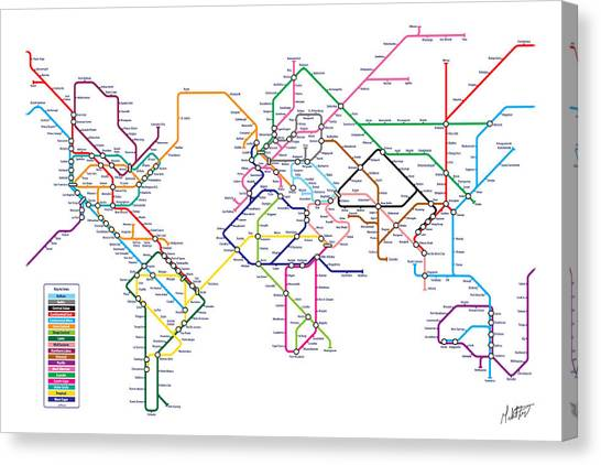 London Tube Canvas Print - World Metro Tube Subway Map by Michael Tompsett