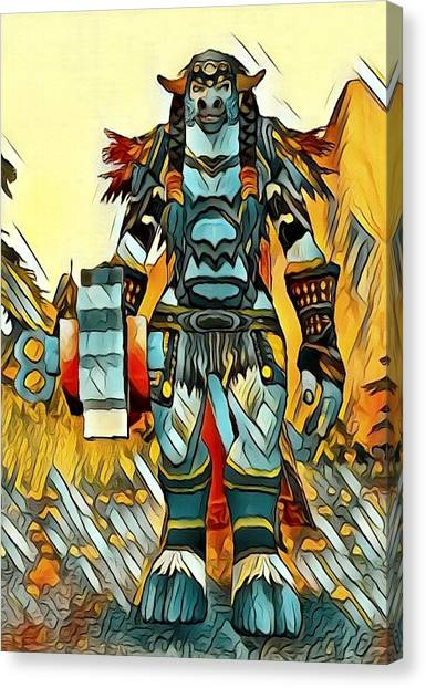 World Of Warcraft Canvas Print - World Of Warcraft Druid Tauren by Artful Oasis