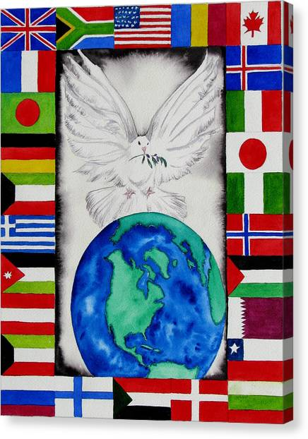 World Peace Canvas Print by Maria Barry