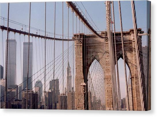 World Trade Center And Brooklyn Bridge Canvas Print