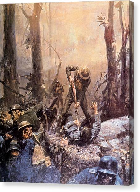 Jt History Canvas Print - World War I, American Marines In The by Everett