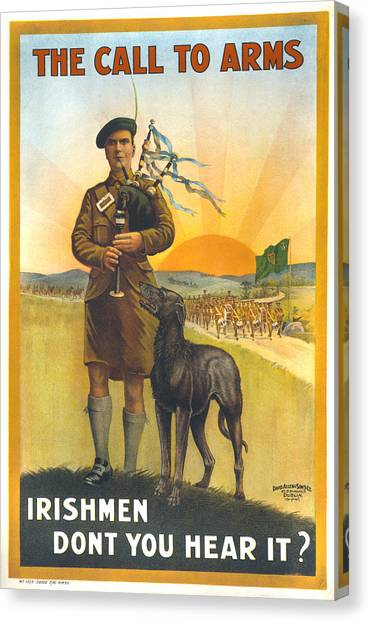 Bagpipes Canvas Print - World War I, Irish Military Recruitment by Everett