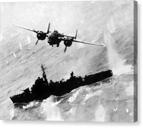 Jt History Canvas Print - World War II, An American B-25 Bomber by Everett
