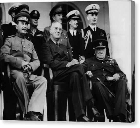 Franklin D. Roosevelt Canvas Print - World War II. From Left, Front Row by Everett