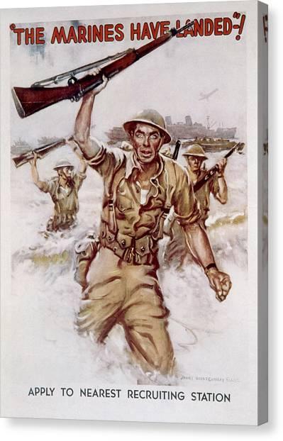 Jt History Canvas Print - World War II, Marines Recruiting Poster by Everett