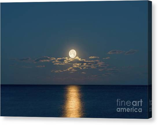 Worm Moon Over The Atlantic Canvas Print