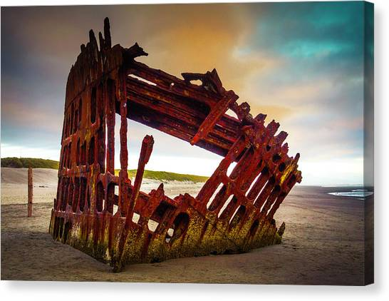 Peter Iredale Canvas Print - Worn Rusting Shipwreck by Garry Gay