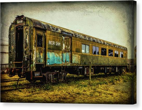 Stock Cars Canvas Print - Worn Weathered Passenger Car by Garry Gay