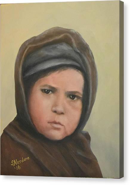 Worried Boy On Ellis Island Canvas Print
