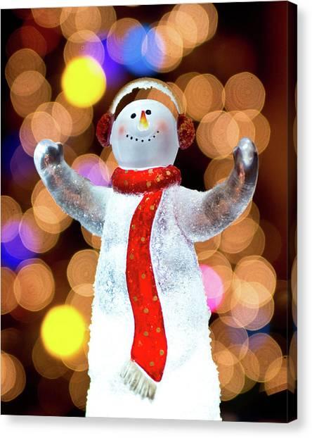 Worshiping Snowman Canvas Print