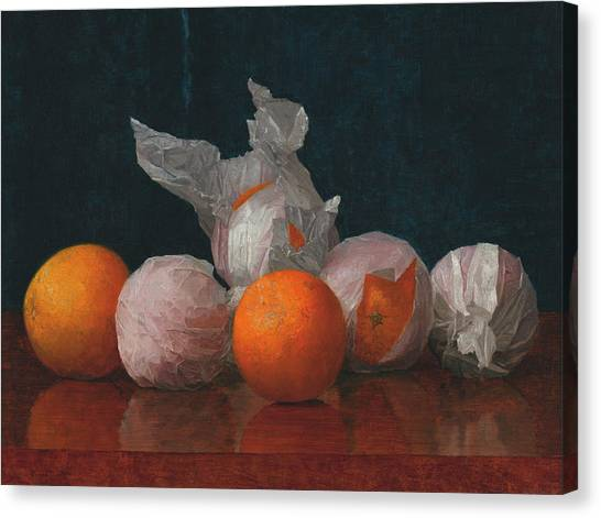 Fruit Baskets Canvas Print - Wrapped Oranges by William McCloskey