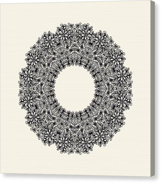 Wreath Canvas Print - #wreath #floraldecor #flowers #round by Olga Strogonova