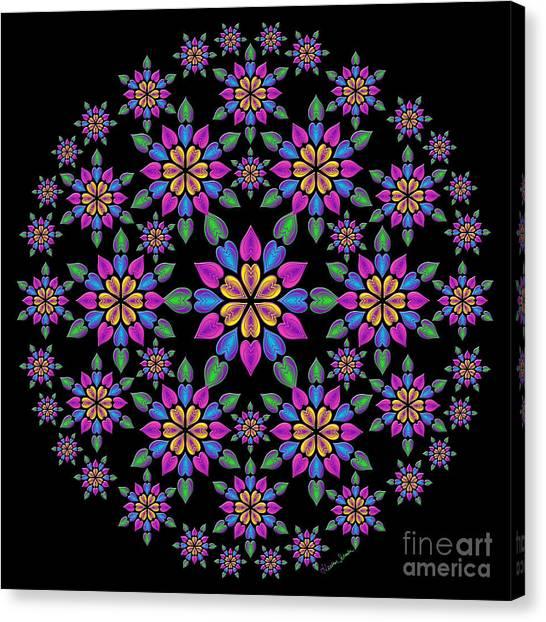 Wreath Of Heart Flowers Canvas Print