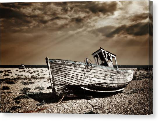 Fishing Boats Canvas Print - Wrecked by Meirion Matthias