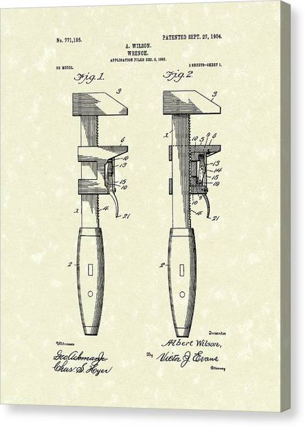 Plumber Canvas Print - Wrench Wilson 1904 Patent Art by Prior Art Design