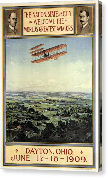 Wright Brothers - World's Greatest Aviators - Dayton, Ohio - Retro Travel Poster - Vintage Poster Canvas Print