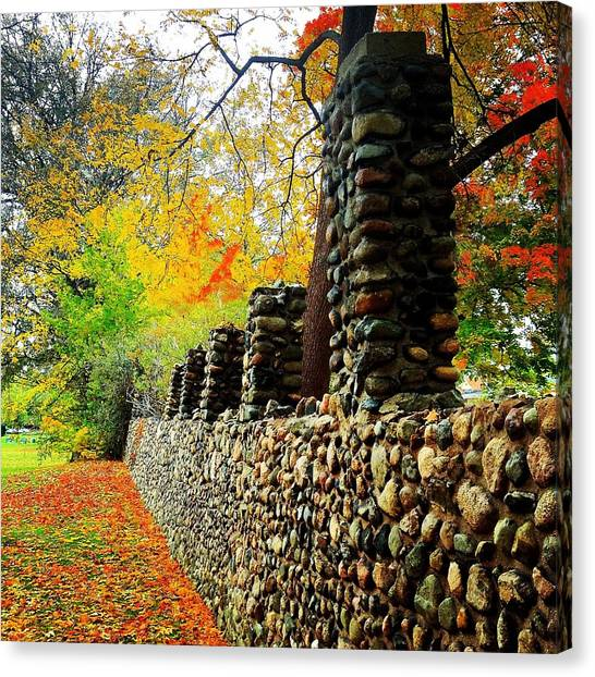 Wright Park Stone Wall In Fall Canvas Print