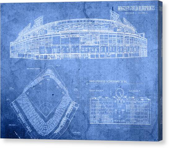 Chicago Cubs Canvas Print - Wrigley Field Chicago Illinois Baseball Stadium Blueprints by Design Turnpike
