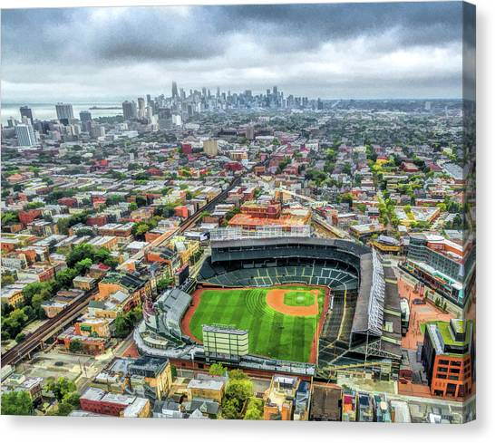 Wrigley Field Chicago Skyline Canvas Print