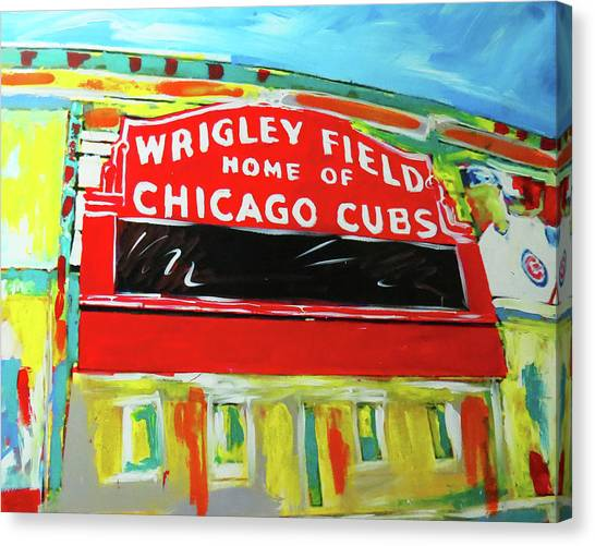 Chicago Cubs Canvas Print - Wrigley Field by Elliott From