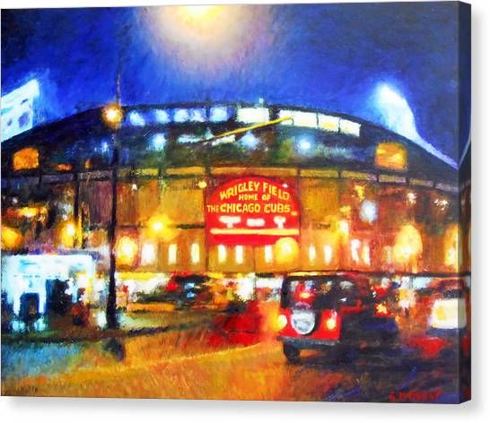 Wrigley Field Canvas Print - Wrigley Field Home Of Chicago Cubs by Michael Durst
