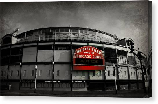 Wrigley Field Canvas Print - Wrigley Field Home Of The Chicago Cubs by Stephen Stookey