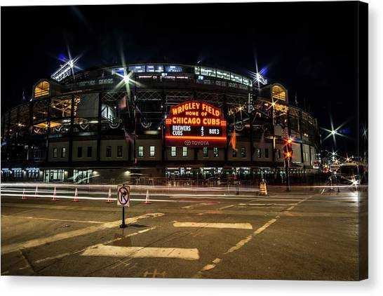 Wrigley Field Marquee At Night Canvas Print