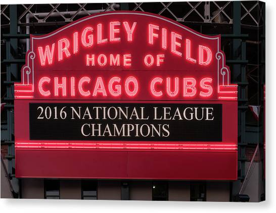Wrigley Field Canvas Print - Wrigley Field Marquee Cubs Champs 2016 Front by Steve Gadomski