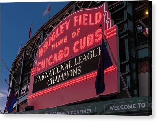 Wrigley Field Canvas Print - Wrigley Field Marquee Cubs National League Champs 2016 by Steve Gadomski