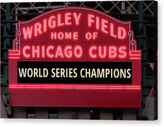 Chicago Cubs Canvas Print - Wrigley Field Marquee Cubs World Series Champs 2016 Front by Steve Gadomski