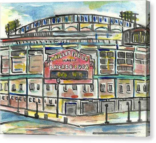 Wrigley Field Canvas Print - Wrigley Field by Matt Gaudian