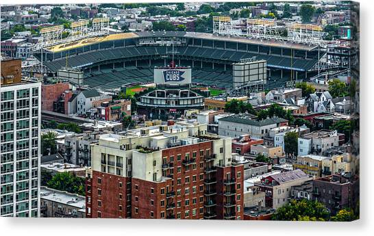 Wrigley Field Canvas Print - Wrigley Field Park Place Towers During The Day Dsc4743 by Raymond Kunst