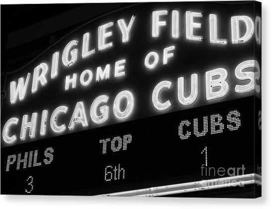 Chicago Cubs Canvas Print - Wrigley Field Sign Black And White Picture by Paul Velgos