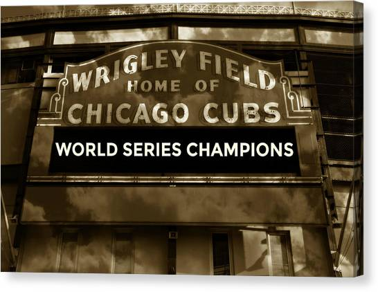 Chicago Cubs Canvas Print - Wrigley Field Sign - Vintage by Stephen Stookey