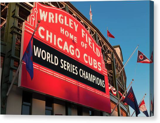 Chicago Cubs Canvas Print - Wrigley Field World Series Marquee Angle by Steve Gadomski