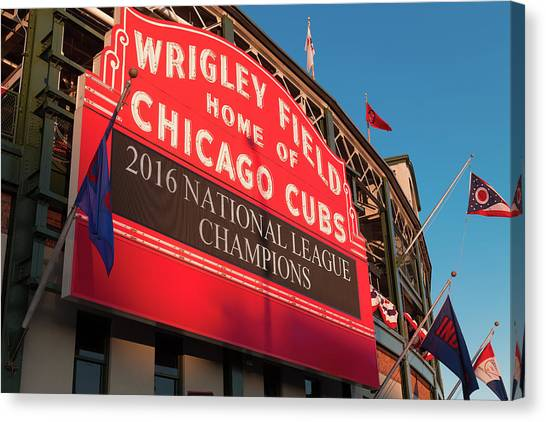 Chicago Cubs Canvas Print - Wrigley Field Marquee Angle by Steve Gadomski